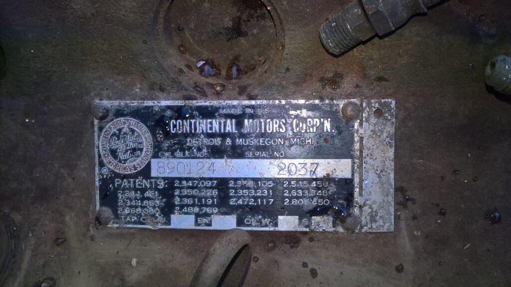 Continental Motors, Typenschild